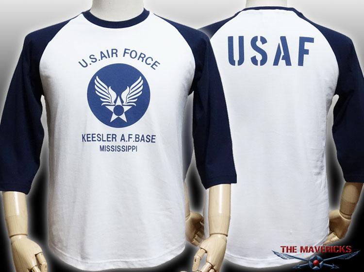 画像1: USAFエアフォース・7分丈ラグラン袖Tシャツ・白×紺 (1)