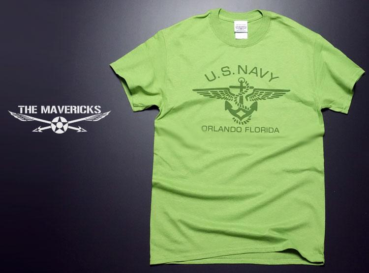画像1: ミリタリー 半袖 Tシャツ US NAVY 米海軍 錨マーク MAVERICKS / ライムグリーン (1)