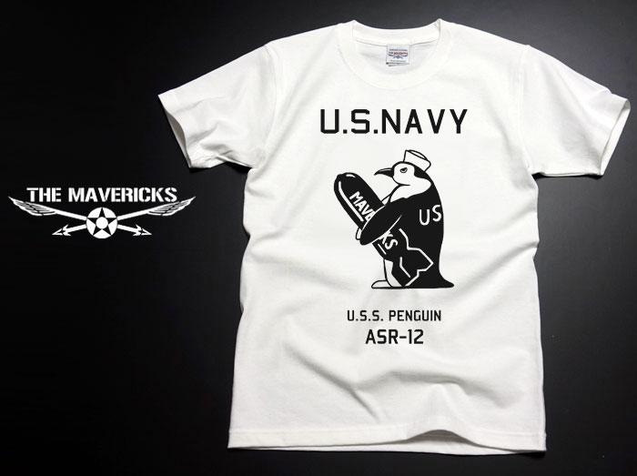 画像1: 極厚 スーパーヘビーウェイト生地 ミリタリーTシャツ 米海軍ペンギン USS.PENGUIN / 白 ホワイト (1)