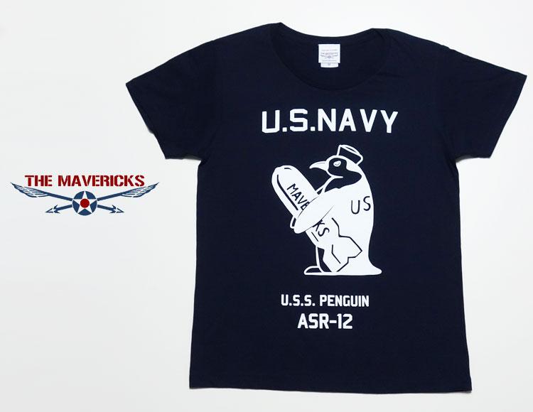 画像1: レディースTシャツ・米海軍ペンギン「USS.PENGUIN」モデル/ネイビー (1)