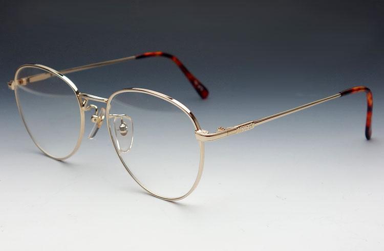 画像1: 日本製・職人ハンドメイド・ティアドロップ系ラウンド眼鏡/ゴールド (1)