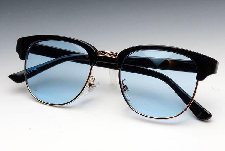 画像1: サーモントデザイン!クラブマスタータイプのサングラス/黒×ブルー (1)