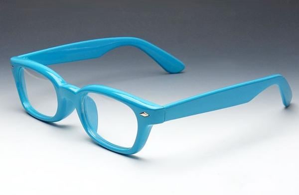 画像1: 高品質 ダテメガネ スカイブルー 水色 の 極太レトロフレーム × クリアー (1)