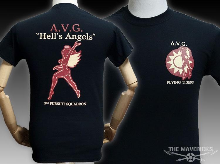 画像1: ミリタリー Tシャツ メンズ 半袖 AVG第三戦隊 THE MAVERICKS ブランド / ブラック 黒 (1)