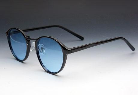 画像1: 送料無料!ビンテージな雰囲気!ブラックボストン型サングラス/黒×ブルー (1)