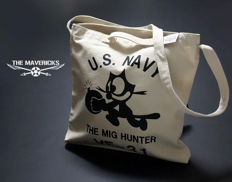 画像1: キャンバス地 2WAY ショルダー トート バッグ 米海軍NAVY モデル/ナチュラル 生成 (1)