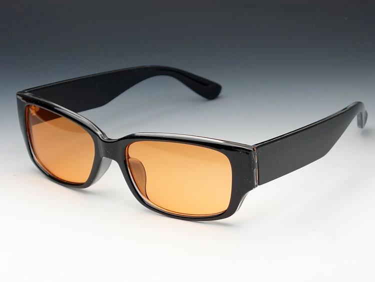 画像1: 存在感のあるブラック・ウェリントン型サングラス・オレンジレンズ (1)