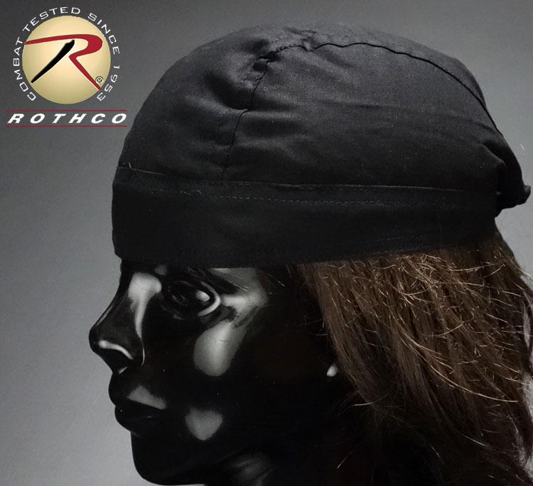 画像1: バンダナキャップ黒無地 ROTHCO ロスコ 社製 新品/ブラック (1)
