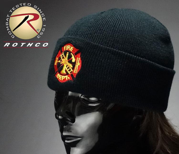 画像1: 「US.消防署」・ROTHCO社・「US.FIRE.DEPT」ニットキャップ・黒 (1)