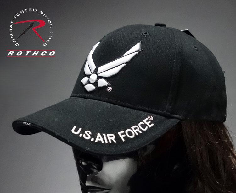 画像1: 米空軍オフィシャル品・ROTHCO社製・「エアフォース」ベースボールキャップ黒 (1)