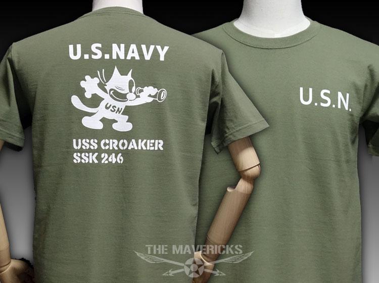 画像1: 極厚 スーパーヘビーウェイト ミリタリー Tシャツ 米海軍「CROAKER」モデル /オリーブ (1)