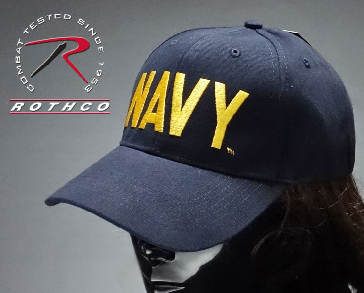 画像1: ミリタリーキャップ 帽子 メンズ NAVY ロゴ ビンテージ仕様 ROTHCO ロスコ ブランド 米海軍 公認 /ネイビー 紺 イエロー (1)