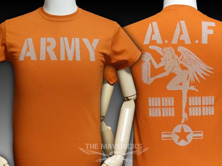 画像1: ミリタリーTシャツ メンズ 半袖 ARMY AAF米陸軍 フライングレディー/オレンジ (1)