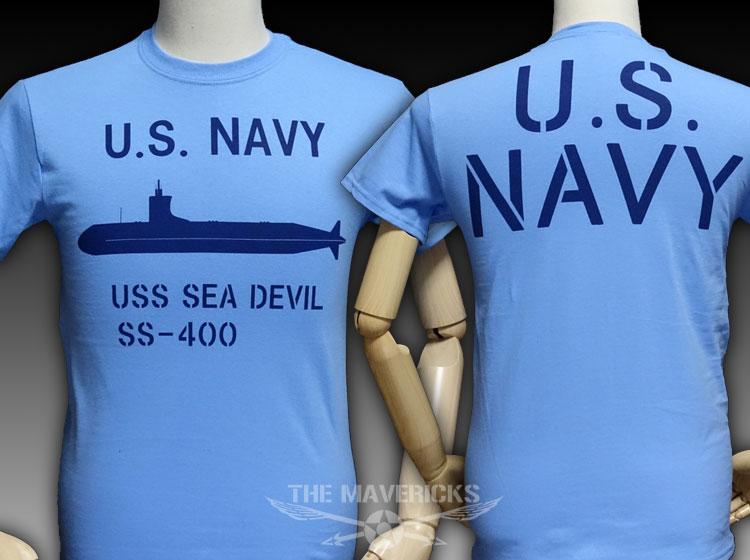 画像1: ミリタリーTシャツ メンズ 半袖 サブマリン NAVY 米海軍/ブルー (1)