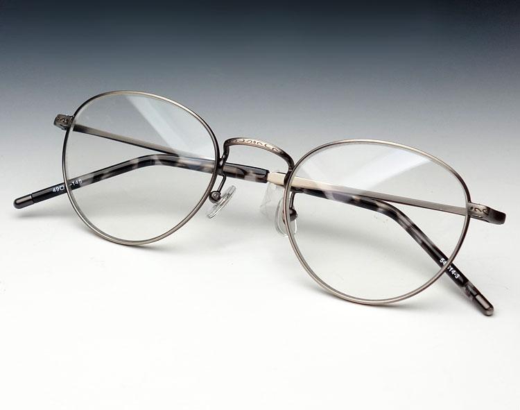 画像1: 日本製 職人ハンドメイド ラウンド系 ボストン 眼鏡/サテンシルバー (1)