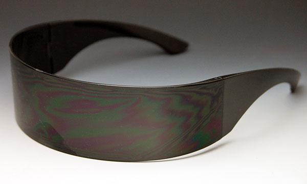 画像1: サングラス メンズ シールド型 サイバーパンク 未来系 ロボコップ / ブラック (1)