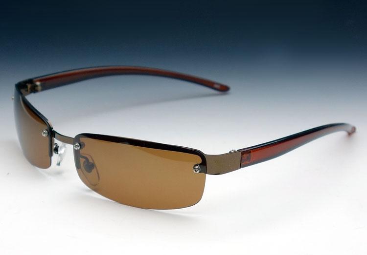 画像1: 偏光レンズ サングラス スピード感のある メタル ブラウン モデル (1)
