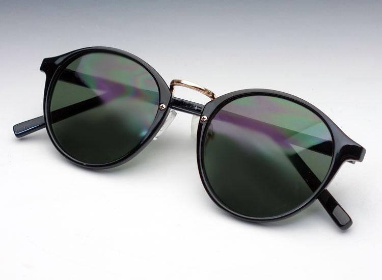 画像1: 送料無料!ビンテージな雰囲気!ボストン型サングラス/ブラック×グリーン (1)