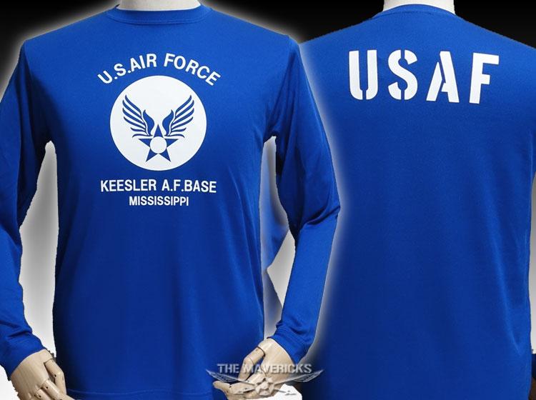 画像1: 水陸両用 ラッシュガード にも使える 長袖 ドライTシャツ USAF エアフォース / 青 ブルー (1)