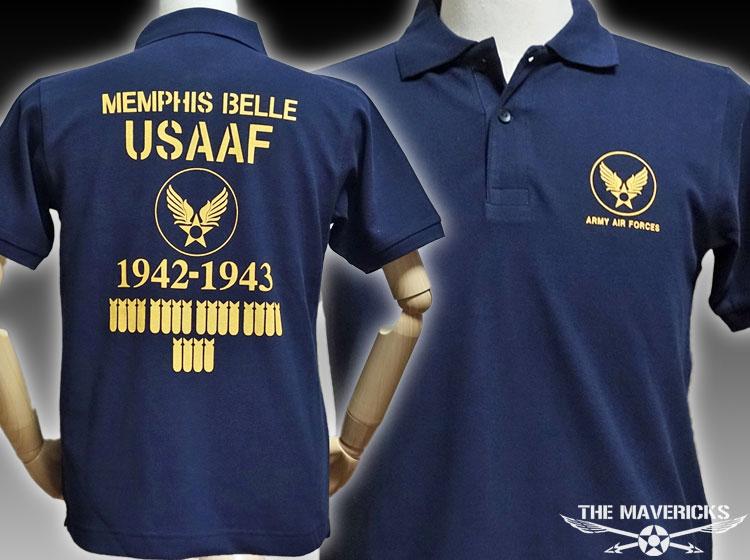 画像1: ミリタリー ポロシャツ 半袖 メンズ 爆弾エアフォース メンフィスベル 厚手 鹿の子 新品 / ネイビー (1)