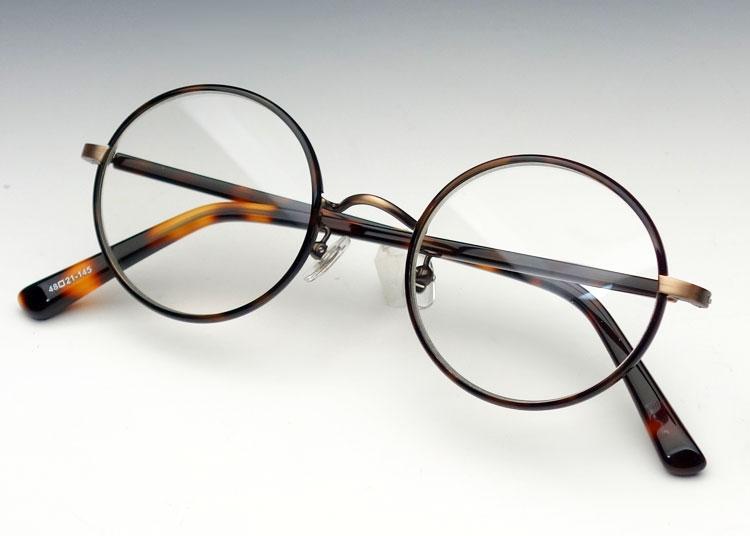画像1: 鯖江 日本製 めがね ラウンド型 職人ハンドメイド メタル & セル 眼鏡/ べっ甲柄 新品 (1)