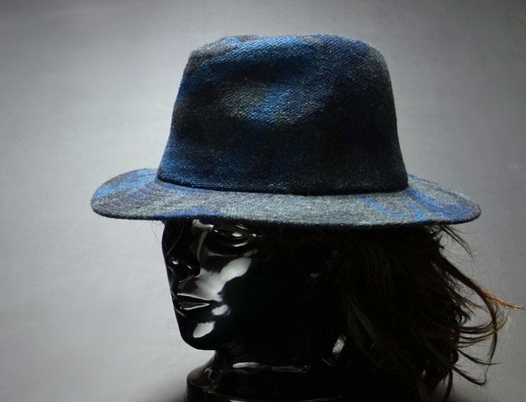 画像1: ブルー カモフラージュ柄 の ツイード系 カジュアルハット 迷彩 青 (1)