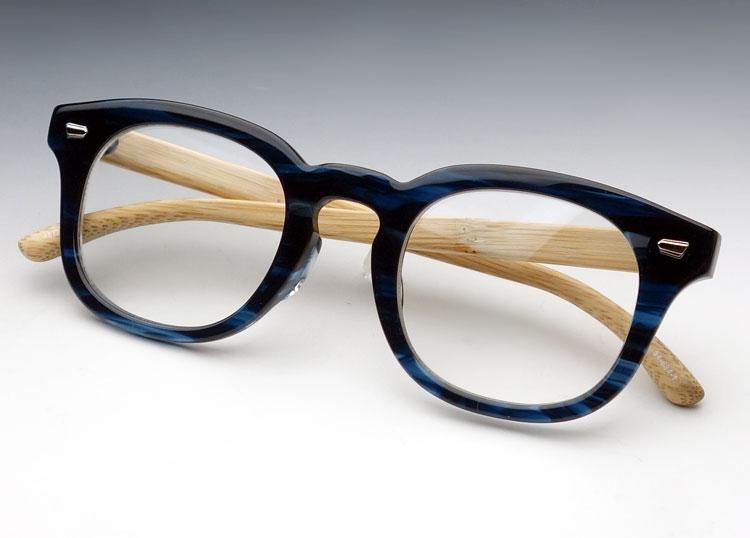 画像1: 日本製 眼鏡 バンブー 竹 テンプル 職人ハンドメイド 国産 ウェリントン / ネイビー 青 ブルー べっ甲柄 (1)