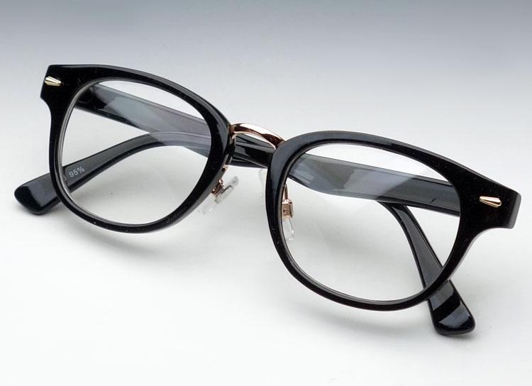 画像1: セル&メタル ボストン型 ブラック 伊達メガネ クリアーレンズ  新品 (1)