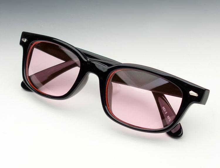 画像1: 送料無料 細デザイン ウェリントン型 サングラス メンズ 新品 / 黒 × レッド (1)