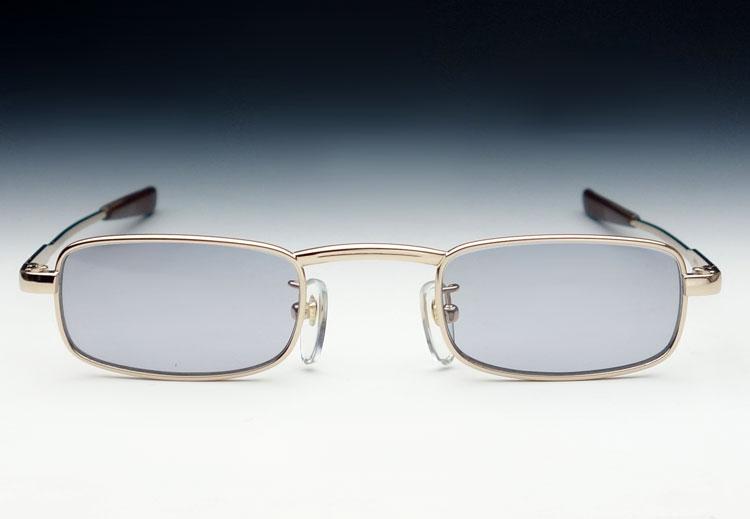 画像1: サングラス メンズ ナロー スクエア タイプ 細目 メタル / ゴールド × パープルグレー (1)