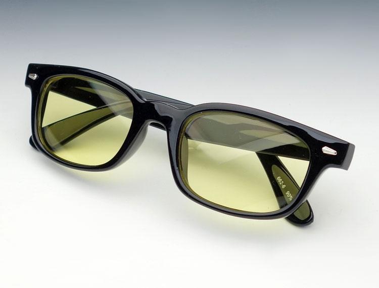画像1: 送料無料 細デザイン ウェリントン型 サングラス メンズ 新品 / 黒 × イエロー (1)