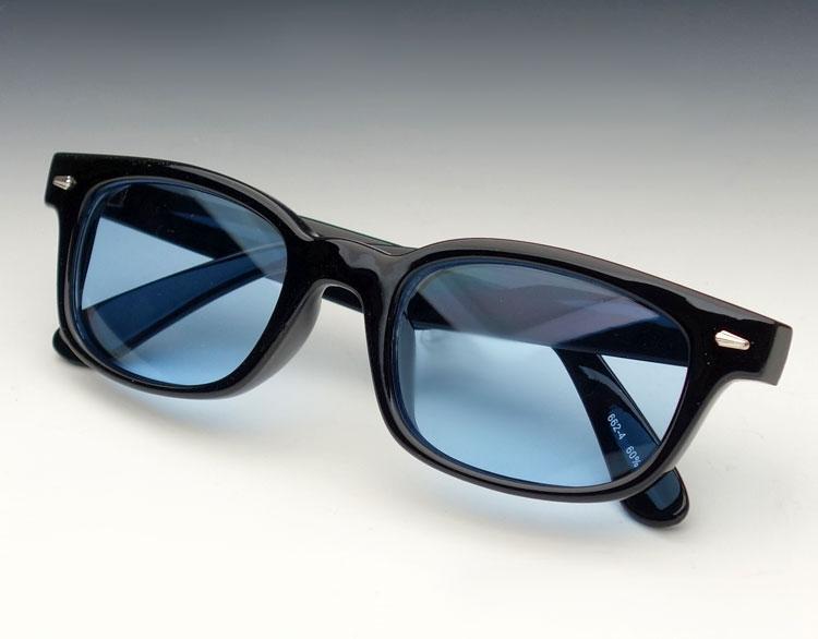 画像1: 送料無料 細デザイン ウェリントン型 サングラス メンズ 新品 / 黒 × ブルー (1)