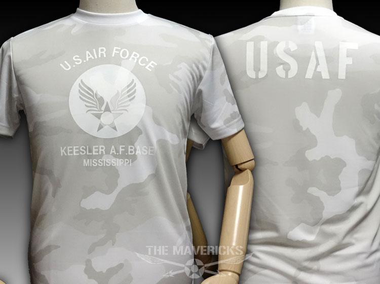 画像1: 水陸両用 ラッシュガード にも使える ドライTシャツ 半袖 USAF エアフォース / カモフラージュ ホワイト (1)