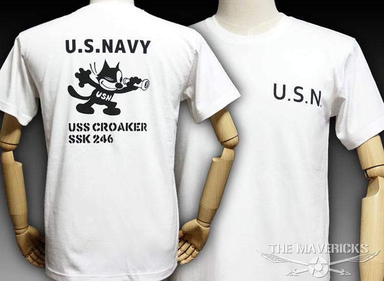 画像1: 極厚 スーパーヘビーウェイト ミリタリー Tシャツ 米海軍 黒猫 CROAKER / 白 ホワイト (1)