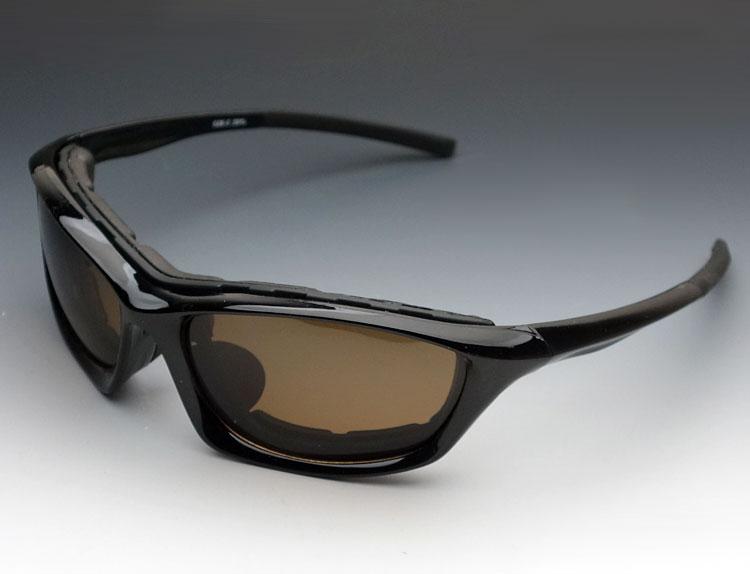 画像1: 偏光レンズ バイカーズシェイド バイク サングラス パット外し可能 / 黒 ブラウン (1)