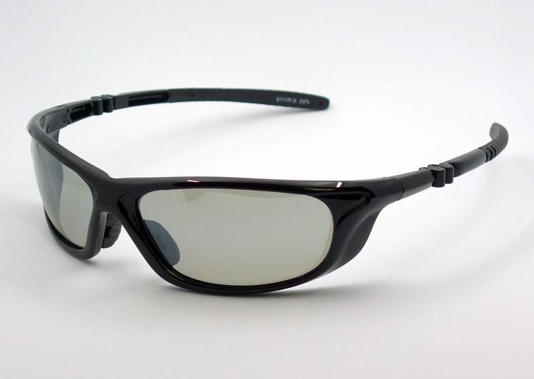 画像1: 軽量 19g 偏光レンズ スポーツ サングラス 黒 フラッシュミラー / ポラライズド (1)