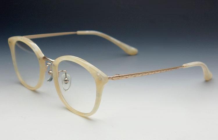 画像1: 鯖江 日本製 めがね 職人 ハンドメイド メタル&セル ボストン 眼鏡 / アイボリー (1)