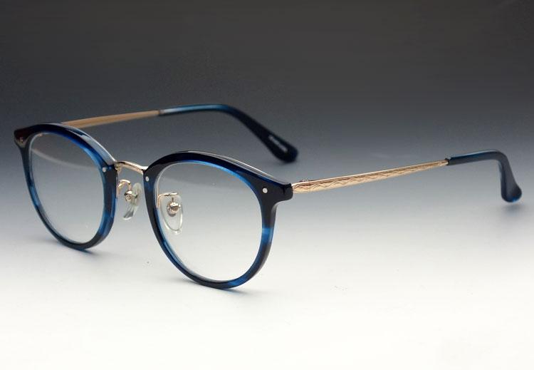 画像1: 鯖江 日本製 めがね 職人 ハンドメイド メタル&セル ボストン 眼鏡 / ブルー 青 べっ甲柄 (1)