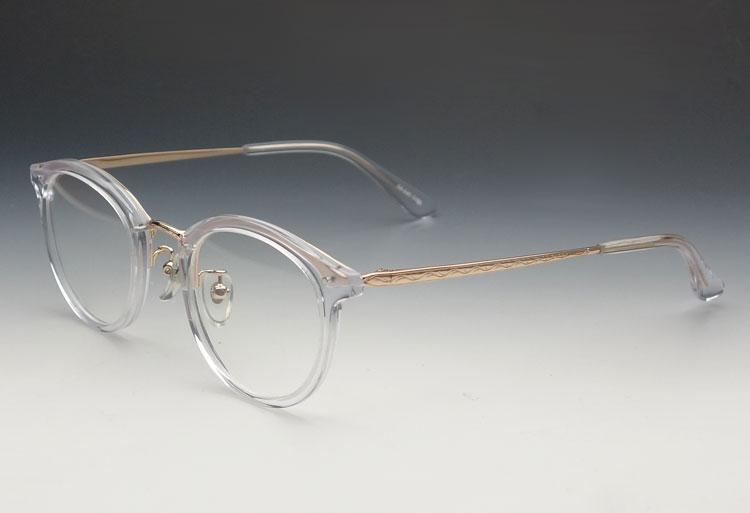 画像1: 鯖江 日本製 めがね 職人 ハンドメイド メタル&セル ボストン 眼鏡 / クリアーフレーム (1)