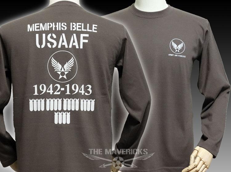 画像1: ミリタリー 長袖 ロング Tシャツ 爆弾エアフォース THE MAVERICKS / チャコールグレー (1)