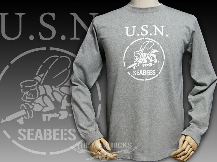 画像1: 極厚 スーパーヘビーウェイト ミリタリー 長袖 Tシャツ NAVY 米海軍 SeaBees / 杢グレー (1)