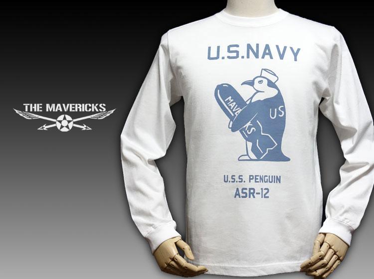 画像1: 極厚 スーパーヘビーウェイト ミリタリー 長袖 Tシャツ 米海軍ペンギン USS.PENGUIN / ホワイト 白 (1)