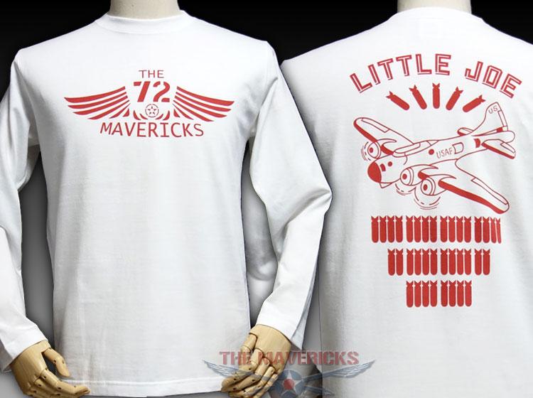 画像1: ミリタリー 長袖 ロング Tシャツ リトルジョー爆撃機モデル THE MAVERICKS / ホワイト (1)