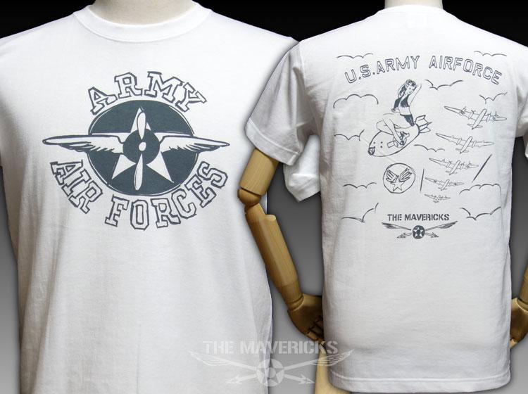 画像1: 極厚 スーパーヘビーウェイト Tシャツ ARMY AIRFORCE エアフォース 手書き  / 白 ホワイト (1)