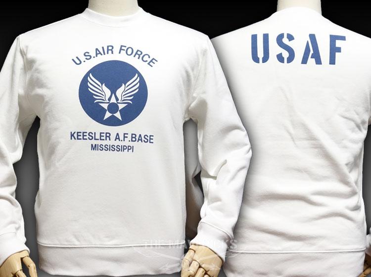 画像1: ミリタリー スウェット トレーナー 10oz 裏パイル USAF エアフォース / 白 ホワイト (1)