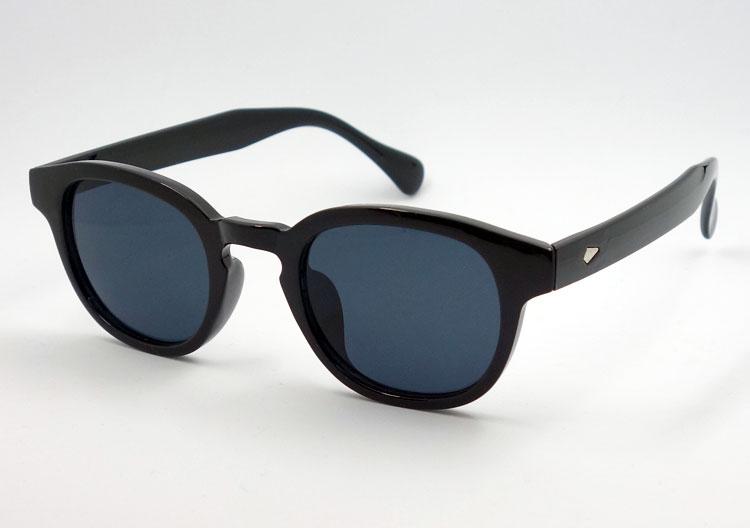 画像1: ボストン型 サングラス メンズ シンプル なブラック スモークレンズ (1)