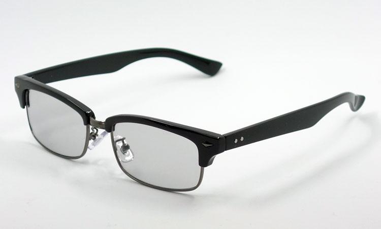 画像1: 細 サーモント型 サングラス セル メタル レトロデザイン 新品/ ブラック ライトスモーク (1)