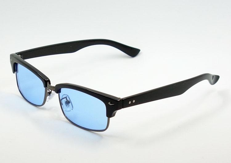 画像1: 細 サーモント型 サングラス セル メタル レトロデザイン 新品/ ブラック ブルー 黒 青 (1)