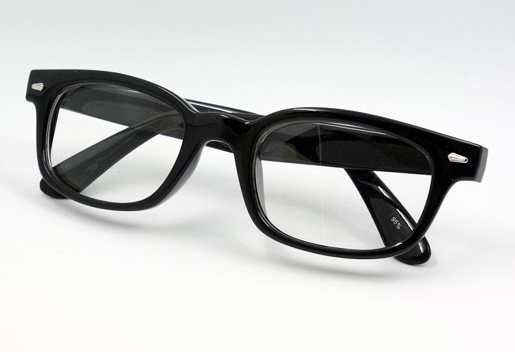 画像1: 送料無料 細デザイン ウェリントン型 伊達メガネ メンズ 新品 / 黒 × クリアー (1)