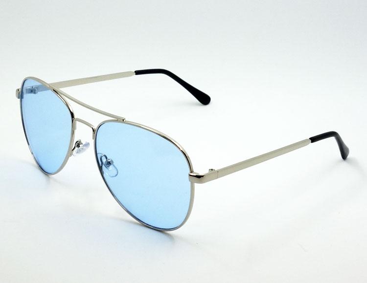 画像1: ティアドロップ メタル サングラス ブランド 名入れ前 モデル / ブルーレンズ (1)